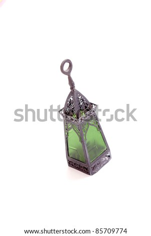 Egyptian lamps with green glass, used in ramadan - stock photo