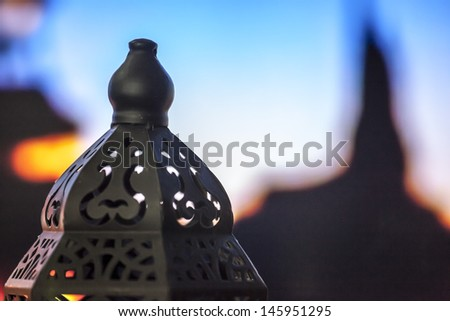 Egyptian lantern on bokeh light - stock photo