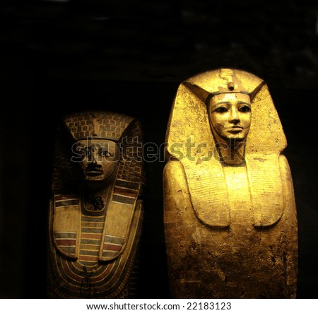 egyptian mummies of a sculpture sarcophagi - stock photo