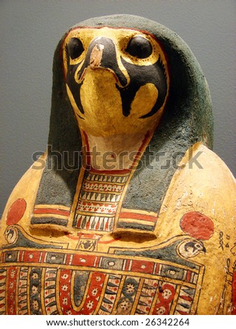 egyptian mummy a sarcophagus of  pharaoh in an image of a bird - stock photo