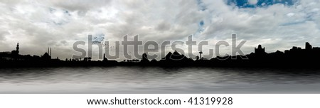 Egyptian panorama with Giza Pyramids, Cairo Citadel, Mosque, Church and palm trees on the Nile river - stock photo