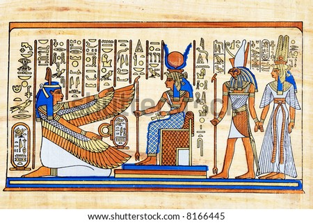 Egyptian papyrus. Isis and winged Maat together with Horus and Nefertari. - stock photo