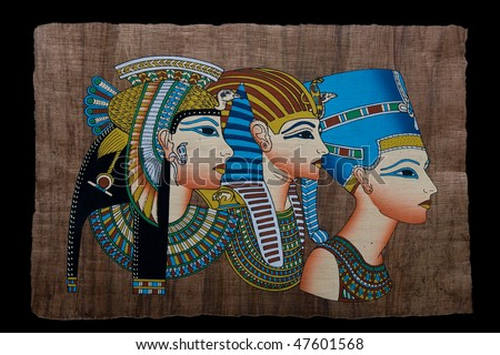 Egyptian papyrus of queens - stock photo
