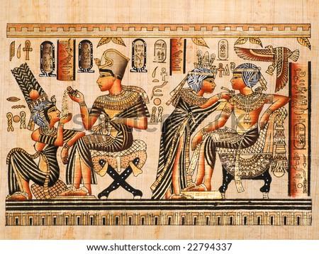 Egyptian papyrus showing both scenes of Tutankhamen and his wife Anhksenamon - stock photo