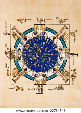 Egyptian papyrus showing the egyptian calendar - stock photo
