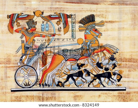 Egyptian papyrus (The king Tutankhamun is  fighting the invaders of his country on his chariot.) - stock photo