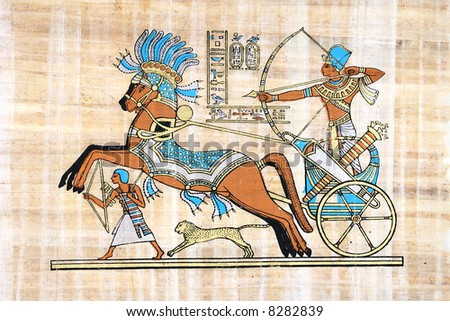 Egyptian Papyrus (War Scene With Rameses Seated In His Chariot) - stock photo