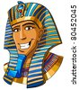 Egyptian pharaoh cartoon illustration - stock vector