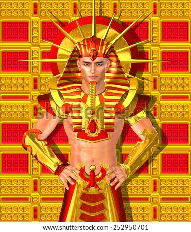 Egyptian Pharaoh Ramses. A modern digital art version of an ancient Egyptian king. A brilliant gold background exudes the wealth and power of Egypt,use for King Tut, Ramses II or any Egyptian pharaoh. - stock photo