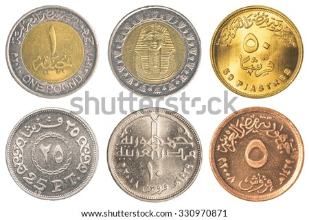 Egyptian pound coins collection isolated on white background