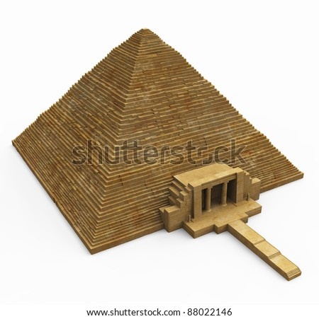 Egyptian Pyramid on White - stock photo