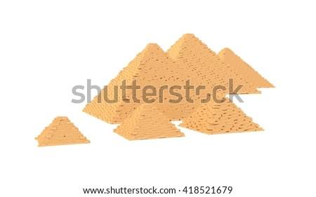 Egyptian pyramids 3d illustration - stock photo