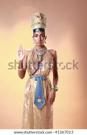 Egyptian queen in pharaoh costume - stock photo