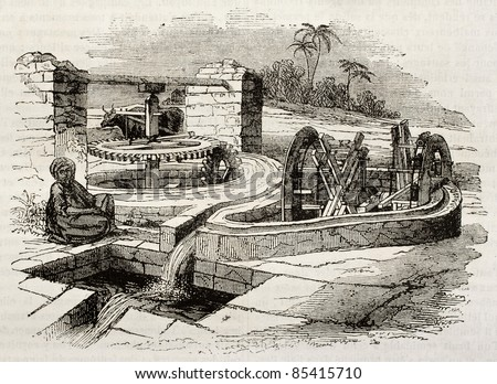 Egyptian Sakieh: old watering system. By unidentified author, published on Magasin pittoresque, Paris, 1842 - stock photo