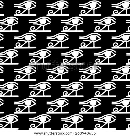 Egyptian seamless pattern with Eye of Horus in black and white. Egypt hieroglyphs. Tribal art monochrome repeating background texture. Cloth design. Wallpaper  - stock photo
