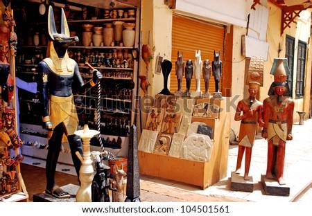 Egyptian souvenir shop in Aswan Market, Egypt. - stock photo