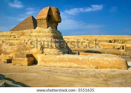 Egyptian Sphinx and the Great Pyramid of Cairo Egypt