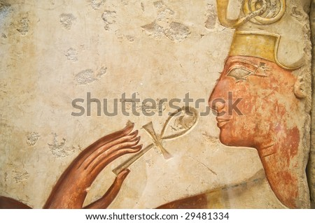 """Egyptian stone with the sign """"key of life"""" - stock photo"""