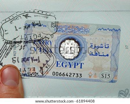 Egyptian visa in passport - stock photo
