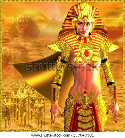 Egyptian Warrior Queen.  An ancient Egyptian woman who named herself Pharaoh is depicted as a powerful warrior leading an army.  Gold abstract background has image of sphinx and yellow sun filled sky. - stock photo