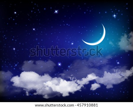 Eid Mubarak background with moon and stars, holy month, Ramadan Kareem.