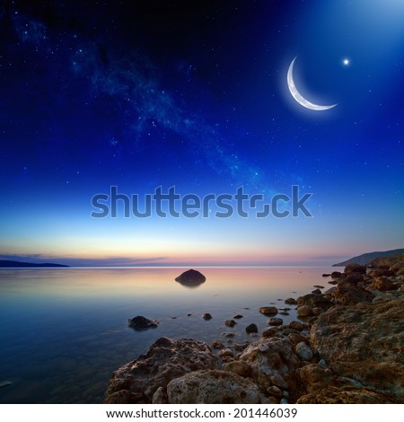 Eid Mubarak background with moon and stars, holy month, Ramadan Kareem, beautiful sunset. Elements of this image furnished by NASA - stock photo