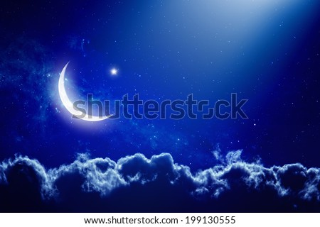 Eid Mubarak background with moon and stars, holy month, Ramadan Kareem. Elements of this image furnished by NASA - stock photo