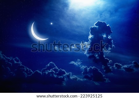 Eid Mubarak background with moon and stars, holy month, Ramadan Kareem, light from above - stock photo