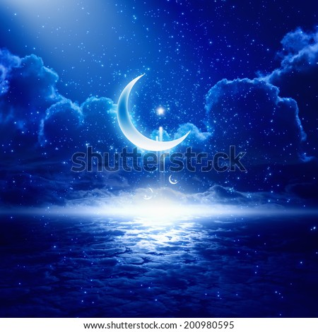 Eid Mubarak background with shining moon and stars, holy month, Ramadan Kareem, glowing horizon - stock photo