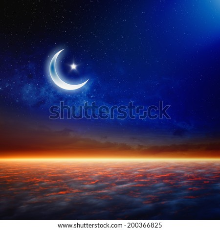 Eid Mubarak background with shiny moon and stars, holy month, Ramadan Kareem, glowing horizon. Elements of this image furnished by NASA - stock photo