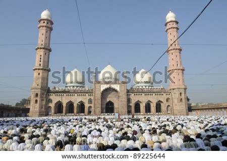 Eid Prayers at Taj-ul-Masajid  in Bhopal -India. - stock photo