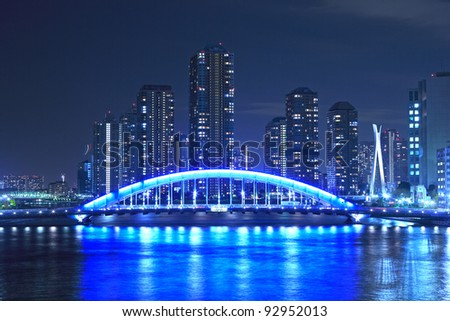 Eidai Bridge and Sumida River in Tokyo, Japan - stock photo