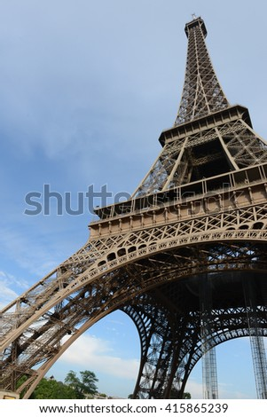 Eiffel from ground with blue sky