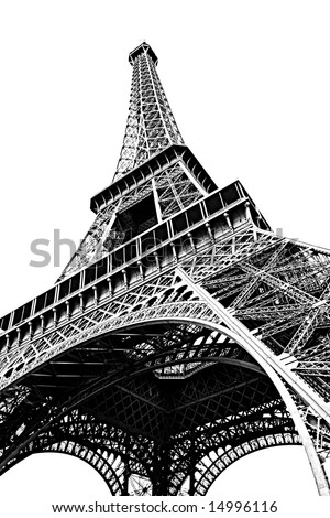 Eiffel in black and white - stock photo