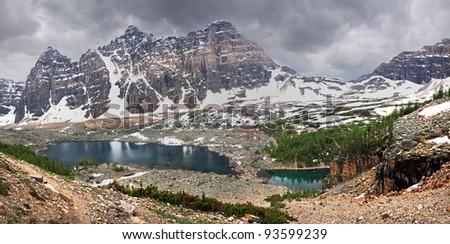 Eiffel Lake, Valley of the 10 Peaks, Lake Louise, Banff National Park, Alberta, Canada - stock photo