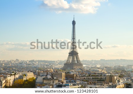 eiffel tour and Paris cityscape in sunny day, France