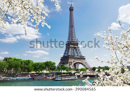 Eiffel Tour over Seine river with spring tree, Paris,  France - stock photo