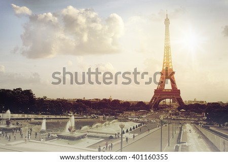 Eiffel Tower and Champ de Mars in Paris, France  - stock photo