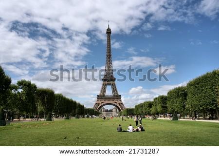 Eiffel Tower and Champ de Mars in Paris, France. Famous landmark. - stock photo