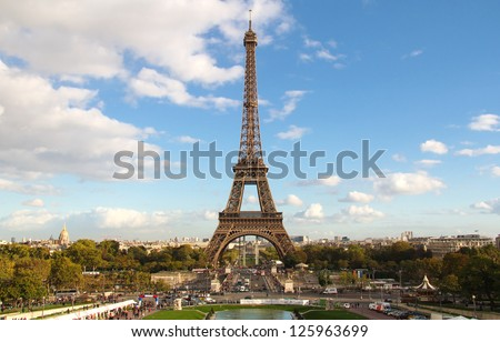 Eiffel Tower and cityscape at sunset light from Trocadero. Paris , France - stock photo