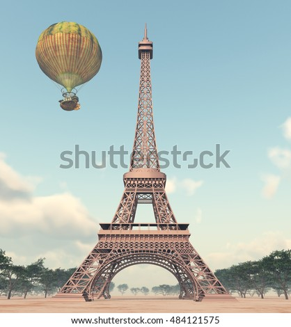 Eiffel Tower and fantasy hot air balloon Computer generated 3D illustration