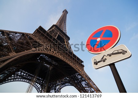 Eiffel Tower and no parking sign