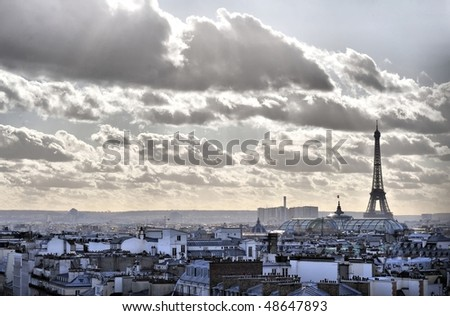 Eiffel tower and Paris roof view - stock photo