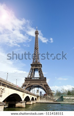 Eiffel Tower and River Seine in Paris, France