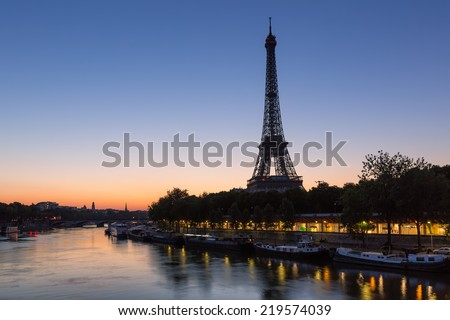 Eiffel Tower and Seine River before Dawn in Paris, France - stock photo