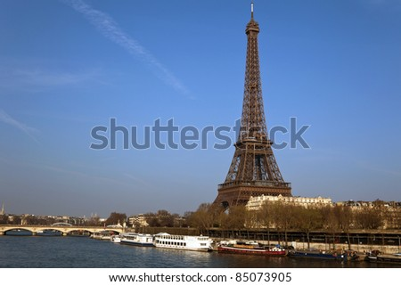 Eiffel tower and Seine river, Paris, France. - stock photo