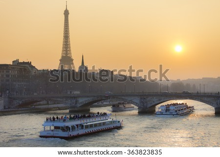 Eiffel Tower and the Seine River, Paris, France, Europe - stock photo