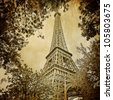 Eiffel tower and trees monochrome vintage - stock photo