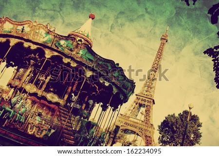 Eiffel Tower and vintage carousel, Paris, France. Retro style - stock photo