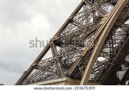 Eiffel Tower architecture detail, Paris, France - stock photo